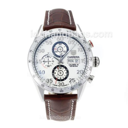 Tag Heuer Carrera Calibre 16 Automatic with White Dial-Brown Leather Strap 171122