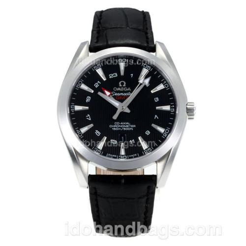 Omega Seamaster Working GMT Swiss ETA 2836 Automatic with Black Dial-Sapphire Glass-Silver Markers 171456