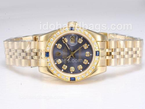 Rolex Datejust Automatic Full Gold Diamond Marking with Blue Dial 20669