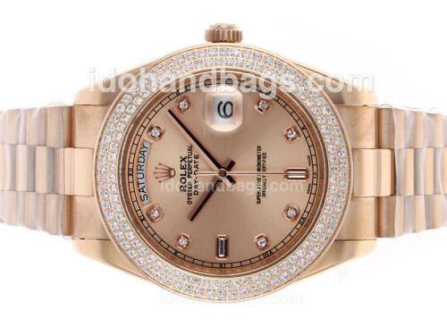 Rolex Day-Date II Swiss ETA 2836 Movement Full Rose Gold Diamond Bezel and Markers with Champagne Dial 45940
