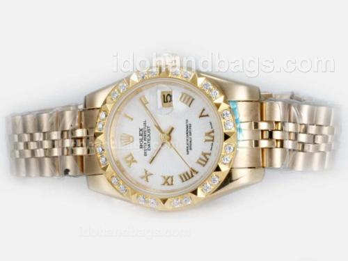 Rolex Datejust Automatic Full Gold Diamond Bezel with White Dial-Roman Marking 20666