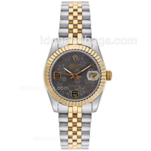 Rolex Datejust Automatic Two Tone with Gray Floral Motif Dial-Mid Size 64197