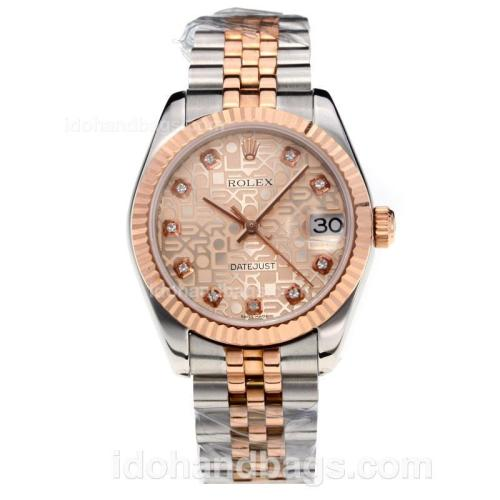 Rolex Datejust Swiss ETA 2355 Automatic Movement Two Tone with Golden Dial-Sapphire Glass 195246