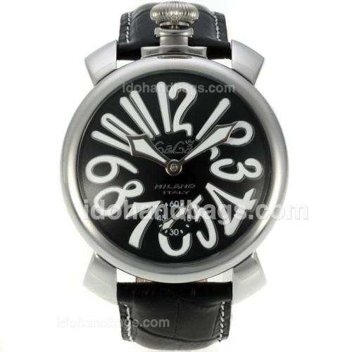 Gaga Milano Unitas 6497 Movement Number Markers with Black Dial-Leather Strap 126078