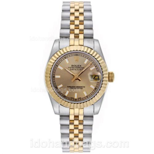 Rolex Datejust Automatic Two Tone Stick Markers with Golden Dial-Mid Size 64203