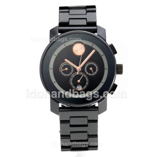 Movado Working Chronograph Full Ceramic with White Dial-Champagne Needle 186352