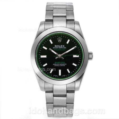 Rolex Milgauss Bamford Automatic with Black Dial S/S-Tinted Green Glass 55858