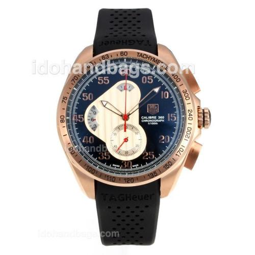 Tag Heuer Carrera Calibre 360 Working Chronograph Rose Gold Case with Black Dial-Black Rubber Strap 174576