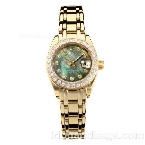 Rolex Masterpiece Automatic Full Gold Diamond Bezel with Dark Green MOP Dial-Same Chassis as ETA Version 176400