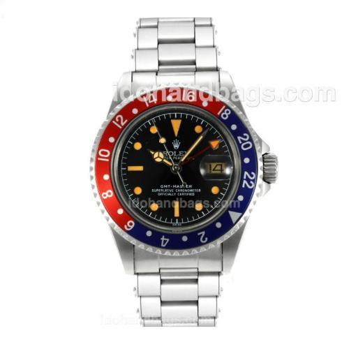Rolex GMT-Master Swiss ETA 2836 Movement Vintage Edition Orange Markers with Black Dial S/S-Rivet Strap 126788