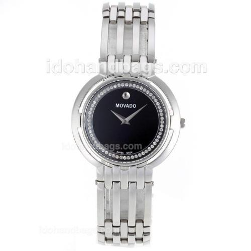 Movado Museum Diamond Inner Bezel with Black Dial S/S-Sapphire Glass 119148