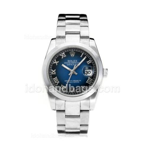 Rolex Datejust Automatic with Blue Dial-Roman Marking 194380
