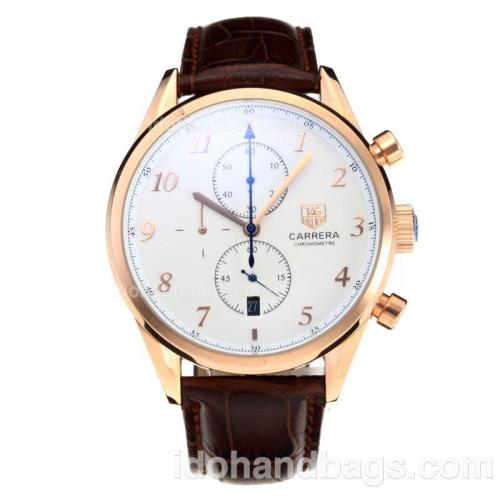 Tag Heuer Carrera Working Chronograph Rose Gold Case with White Dial-Leather Strap 196704