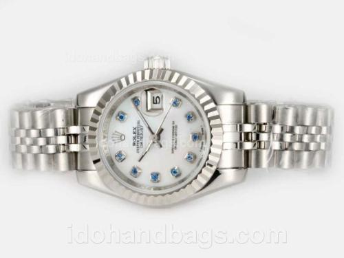 Rolex Datejust Automatic Blue Diamond Marking with White Dial 20816