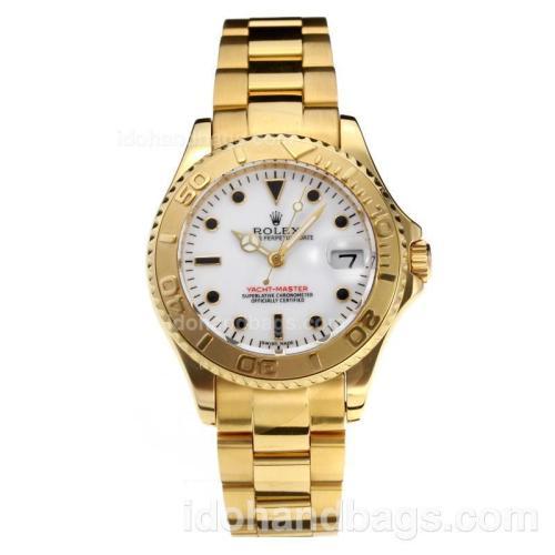 Rolex Yachtmaster Super Luminous Swiss ETA 3135 Automatic Movement Full Yellow Gold with White Dial-Sapphire Glass 187026