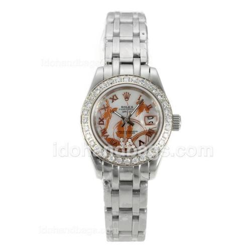 Rolex Masterpiece Automatic Diamond Bezel with White MOP Dial S/S-Flowers Illustration 125512