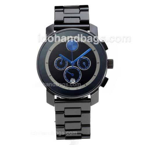 Movado Working Chronograph Full Ceramic with Black Dial-Blue Needle 186354