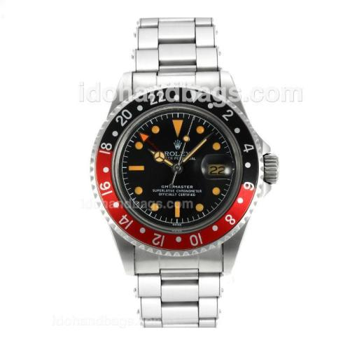 Rolex GMT-Master Swiss ETA 2836 Movement Vintage Edition Orange Markers with Black Dial S/S-Rivet Strap 126790