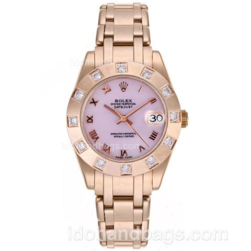 Rolex Masterpiece Swiss ETA 2836 Movement Full Rose Gold Diamond Marking with Pink MOP Dial-Mid Size 87396