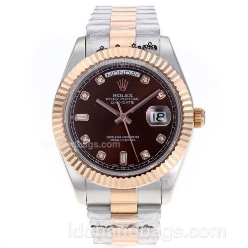 Rolex Day-Date II Swiss ETA 2836 Movement Two Tone Diamond Markers with Brown Dial 62529