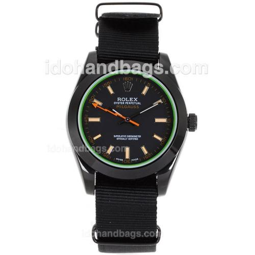 Rolex Milgauss Automatic PVD Case Orange Markers with Black Dial-Nylon Strap 119218