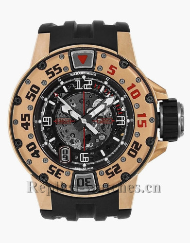 Replica Richard Mille Rose Gold Case Rubber Strap Mens Watch RM028