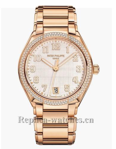 Patek Philippe Replica Twenty 4 Rose Gold Silver Dial 36MM Watch 73001200R010