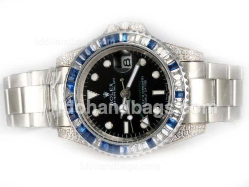 Rolex GMT-Master II Automatic Baguette CZ Diamond Bezel with Black Dial 21954