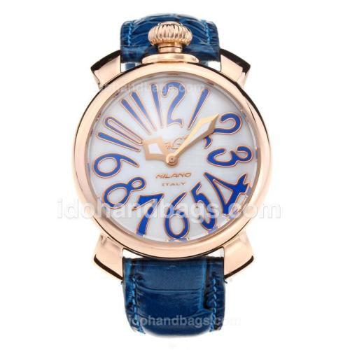 GaGa Milano Rose Gold Case with White Shell Dial-Blue Leather Strap 203846