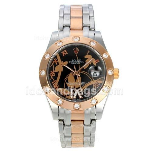 Rolex Datejust II Automatic Two Tone Diamond Markers with Black Dial-Flowers Illustration 111626