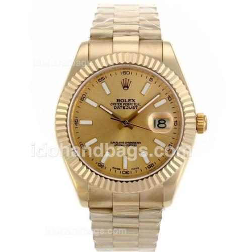 Rolex Day-Date II Swiss ETA 2836 Movement Full Gold Stick Markers with Golden Dial 88364