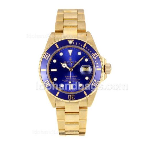 Rolex Submariner Automatic Full Gold with Blue Dial and Bezel 11674