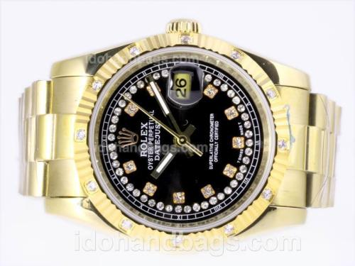 Rolex Datejust Automatic Full Gold Diamond Marking with Black Dial 23380