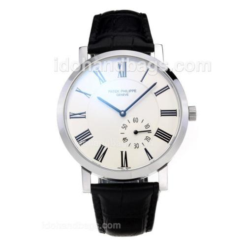 Patek Philippe Automatic with White Dial-Leather Strap 201460
