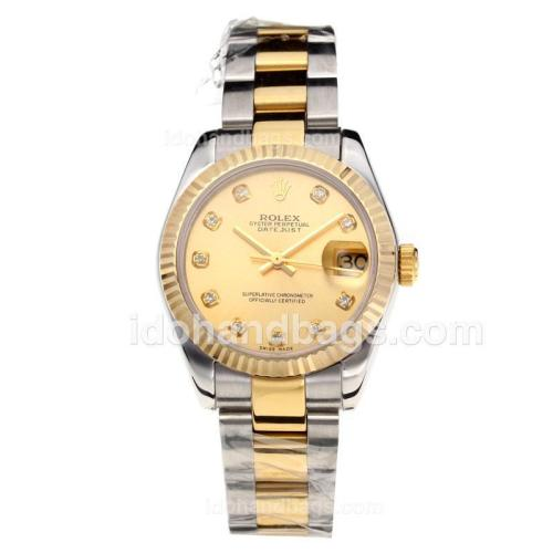 Rolex Datejust Swiss ETA 2355 Automatic Movement Two Tone with Golden Dial-Sapphire Glass 195242
