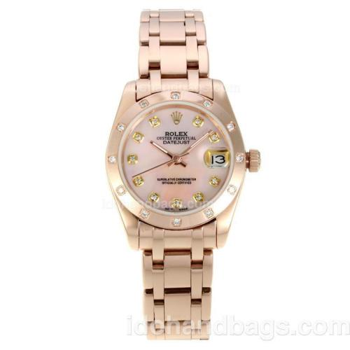 Rolex Masterpiece Automatic Full Rose Gold with Pink MOP Dial-Diamond Bezel and Markers 127530