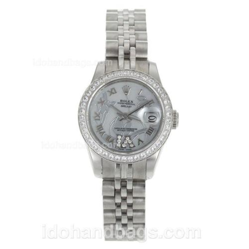 Rolex Datejust Automatic Diamond Bezel Roman Markers with White MOP Dial-Flowers Illustration 116254