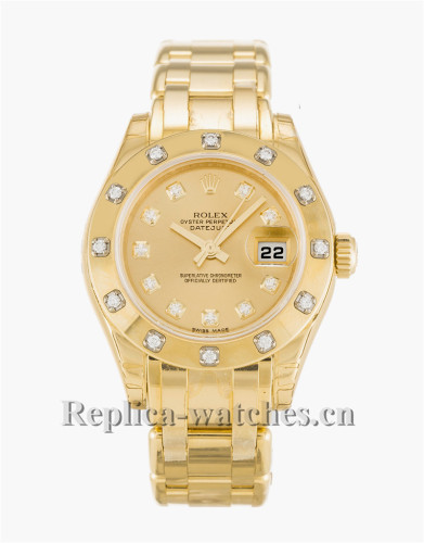 Rolex Pearlmaster Gold Stainless Steel Strap Gold Dial 80318