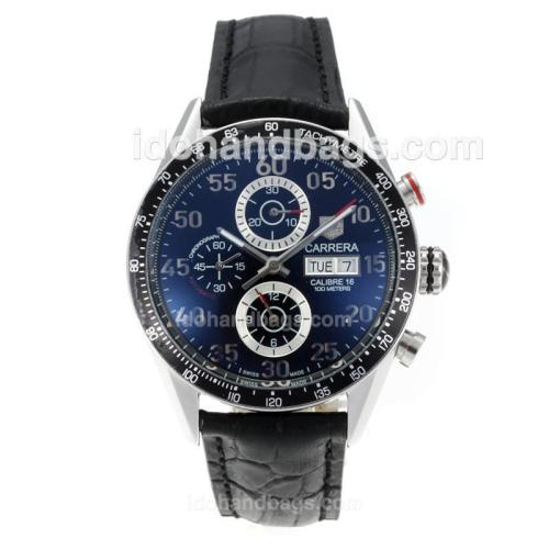 Tag Heuer Carrera Calibre 16 Automatic with Black Dial-Black Leather Strap 171124