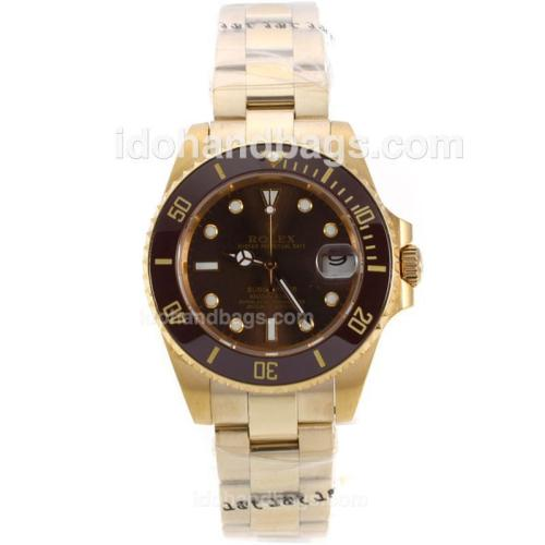 Rolex Submariner Automatic Full Yellow Gold with Brown Bezel and Dial-Medium Size 139512