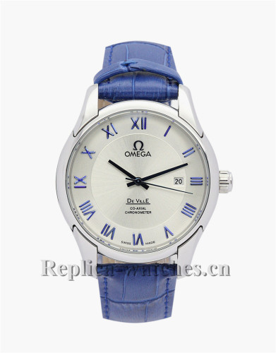 Omega De Ville Hour Vision Blue Leather Strap White Dial 41MM