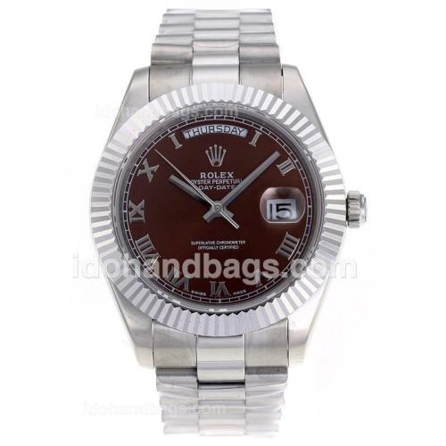Rolex Day-Date II Swiss ETA 2836 Movement Roman Markers with Brown Dial S/S 62530