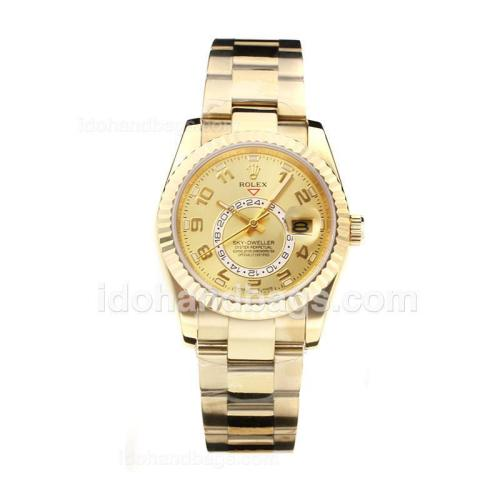 Rolex Sky Dweller Automatic Full Gold with Golden Dial-Sapphire Glass 178708