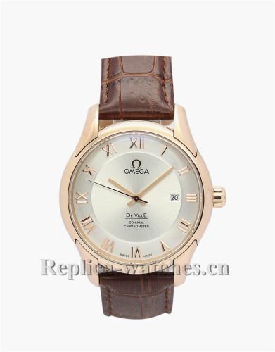 Omega De Ville Hour Vision Brown Leather Strap Gold Bezel