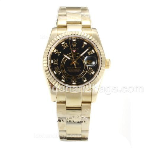 Rolex Sky Dweller Automatic Full Yellow Gold with Black Dial-Sapphire Glass 161900
