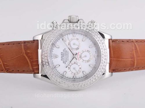 Rolex Daytona Automatic Diamond Bezel with White Dial 25685