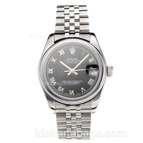 Rolex Datejust Swiss ETA 2355 Automatic Movement with Black Dial S/S-Roman Markers-Sapphire Glass 195238