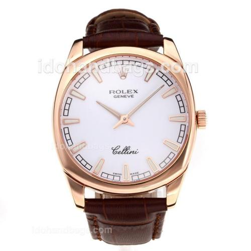 Rolex Cellini Luminous Swiss ETA Movement Rose Gold Case with White Dial-Leather Strap-Sapphire Glass 194510