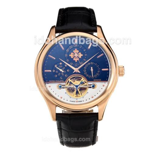 Patek Philippe Automatic Tourbillon Rose Gold Case with Black Dial-Leather Strap 202586