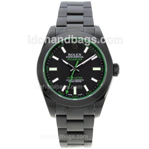 Rolex Milgauss Oyster Perpetual Swiss ETA 2836 Movement Full PVD with Black Dial-Sapphire Glass 124958